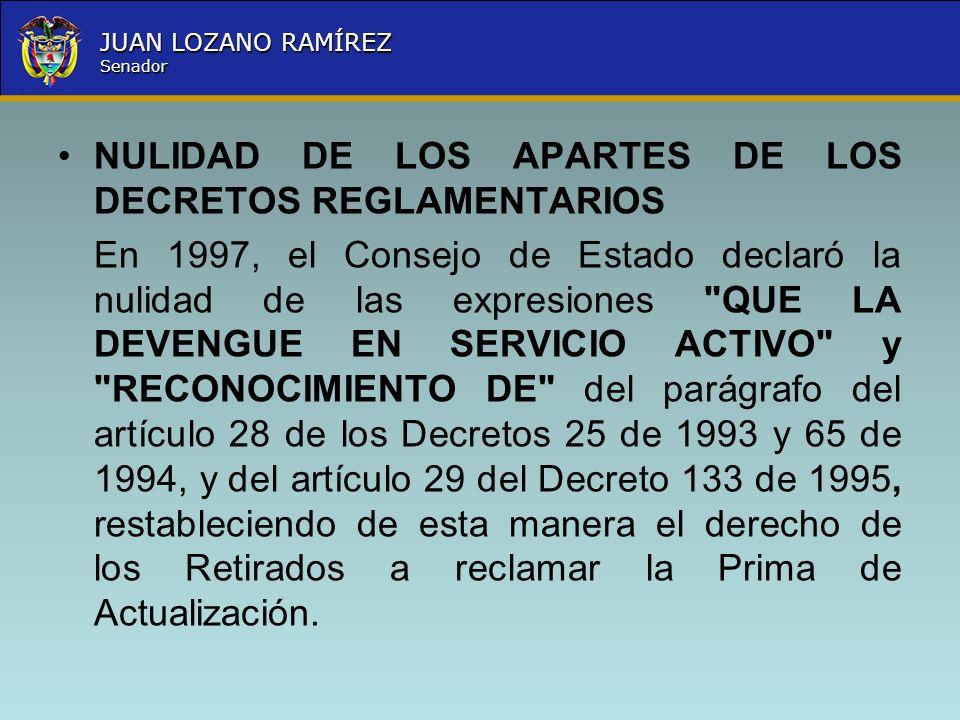 Nombre la Entidad República de Colombia JUAN LOZANO RAMÍREZ Senador NULIDAD DE LOS APARTES DE LOS DECRETOS REGLAMENTARIOS En 1997, el Consejo de Estad