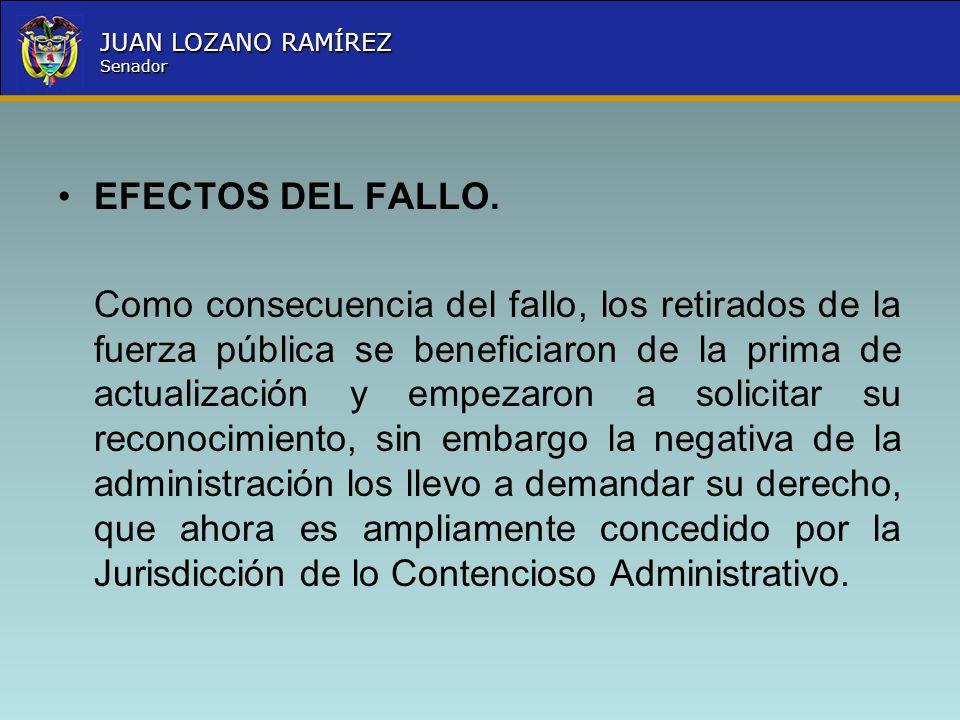 Nombre la Entidad República de Colombia JUAN LOZANO RAMÍREZ Senador EFECTOS DEL FALLO. Como consecuencia del fallo, los retirados de la fuerza pública
