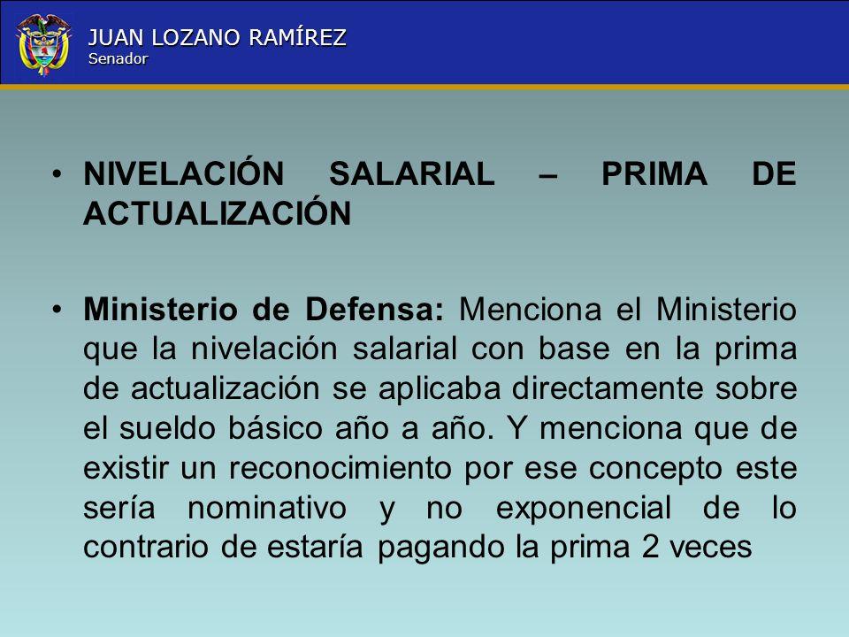 Nombre la Entidad República de Colombia JUAN LOZANO RAMÍREZ Senador NIVELACIÓN SALARIAL – PRIMA DE ACTUALIZACIÓN Ministerio de Defensa: Menciona el Mi