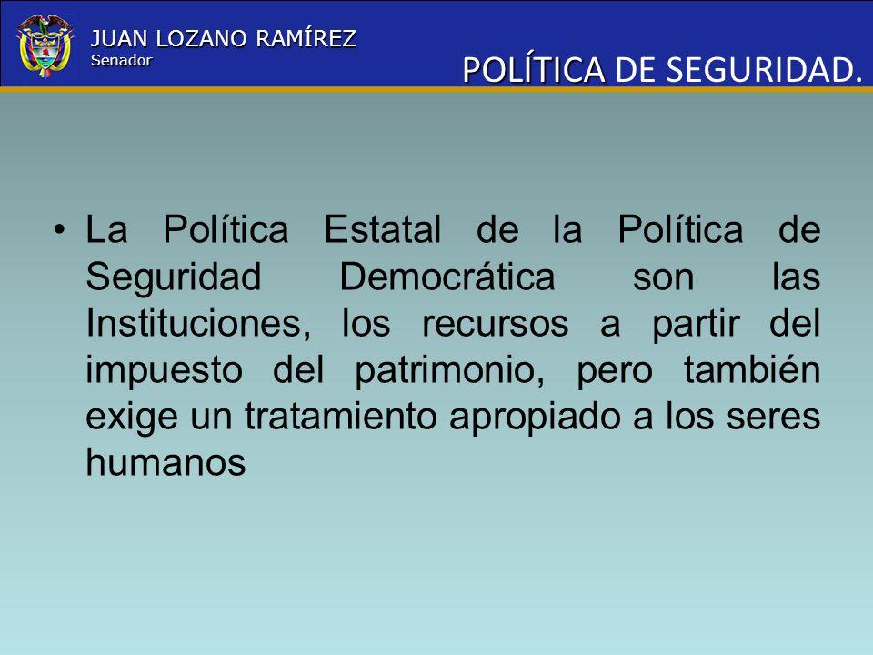Nombre la Entidad República de Colombia JUAN LOZANO RAMÍREZ Senador PROPÓSITO El propósito del debate es establecer la forma de pago que permita al Estado cancelar la deuda salarial y prestacional contraída con los miembros de la Fuerza Pública.