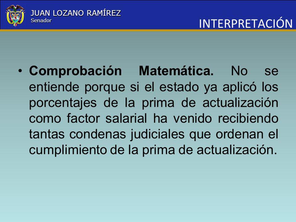 Nombre la Entidad República de Colombia JUAN LOZANO RAMÍREZ Senador INTERPRETACIÓN Comprobación Matemática. No se entiende porque si el estado ya apli