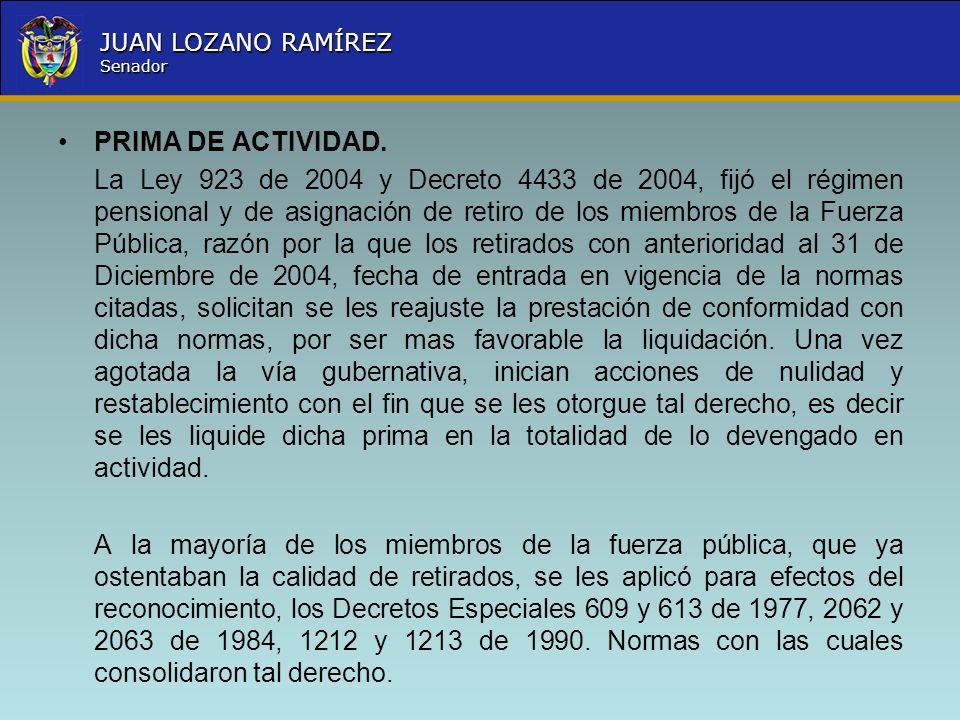 Nombre la Entidad República de Colombia JUAN LOZANO RAMÍREZ Senador PRIMA DE ACTIVIDAD. La Ley 923 de 2004 y Decreto 4433 de 2004, fijó el régimen pen