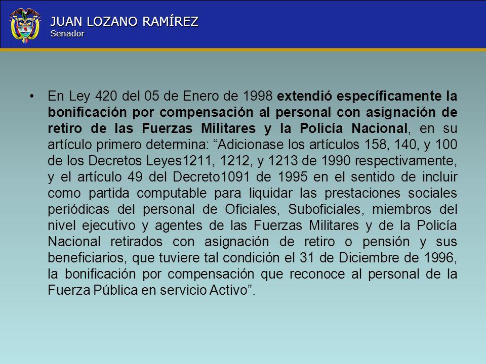 Nombre la Entidad República de Colombia JUAN LOZANO RAMÍREZ Senador En Ley 420 del 05 de Enero de 1998 extendió específicamente la bonificación por co