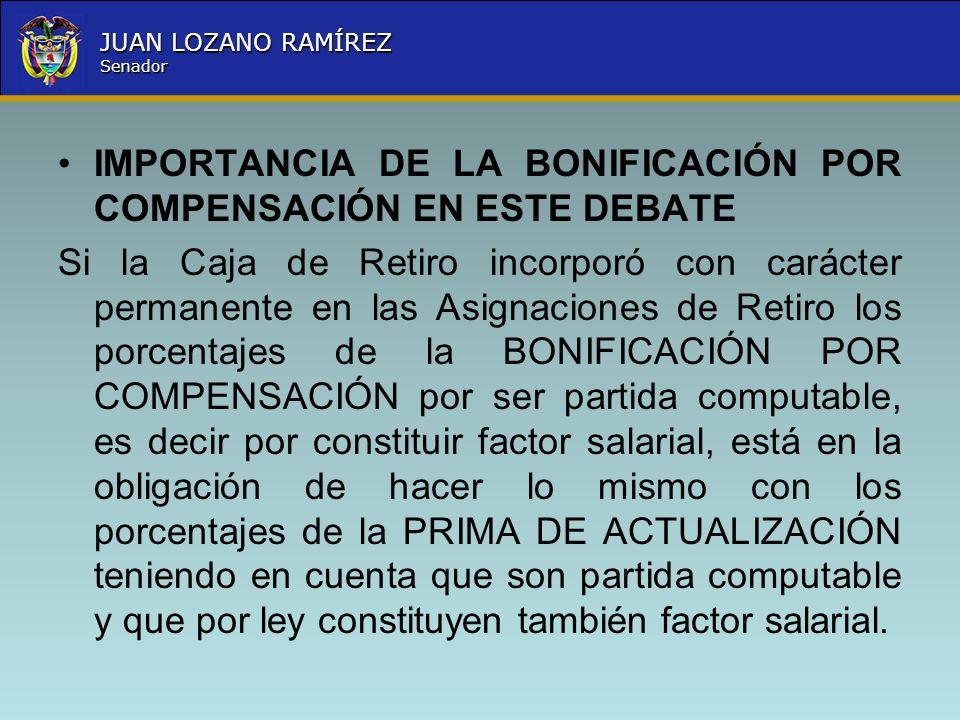Nombre la Entidad República de Colombia JUAN LOZANO RAMÍREZ Senador IMPORTANCIA DE LA BONIFICACIÓN POR COMPENSACIÓN EN ESTE DEBATE Si la Caja de Retir