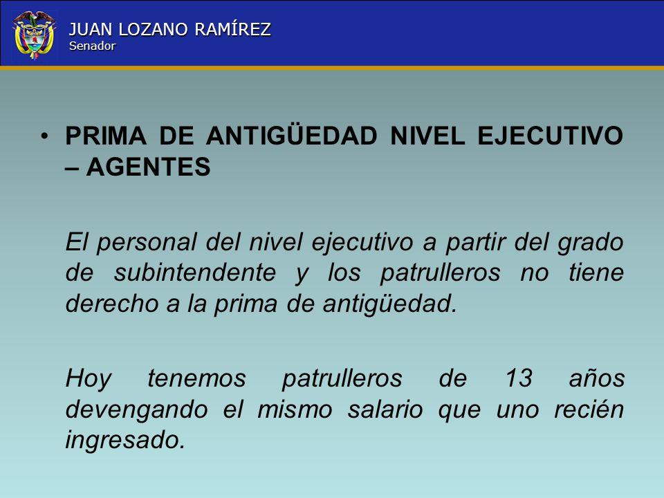 Nombre la Entidad República de Colombia JUAN LOZANO RAMÍREZ Senador PRIMA DE ANTIGÜEDAD NIVEL EJECUTIVO – AGENTES El personal del nivel ejecutivo a pa