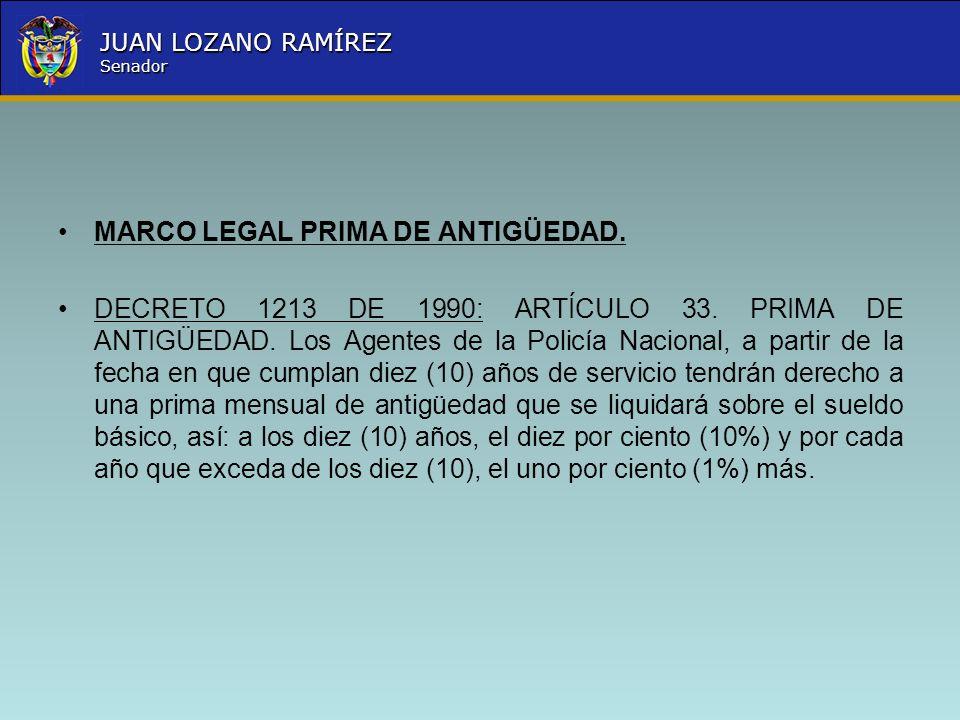 Nombre la Entidad República de Colombia JUAN LOZANO RAMÍREZ Senador MARCO LEGAL PRIMA DE ANTIGÜEDAD. DECRETO 1213 DE 1990: ARTÍCULO 33. PRIMA DE ANTIG
