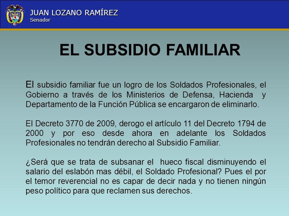 Nombre la Entidad República de Colombia JUAN LOZANO RAMÍREZ Senador El subsidio familiar fue un logro de los Soldados Profesionales, el Gobierno a tra