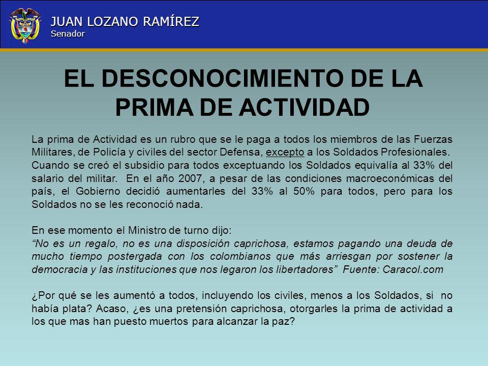 Nombre la Entidad República de Colombia JUAN LOZANO RAMÍREZ Senador EL DESCONOCIMIENTO DE LA PRIMA DE ACTIVIDAD La prima de Actividad es un rubro que