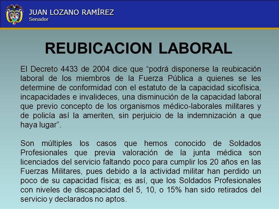 Nombre la Entidad República de Colombia JUAN LOZANO RAMÍREZ Senador REUBICACION LABORAL El Decreto 4433 de 2004 dice que podrá disponerse la reubicaci