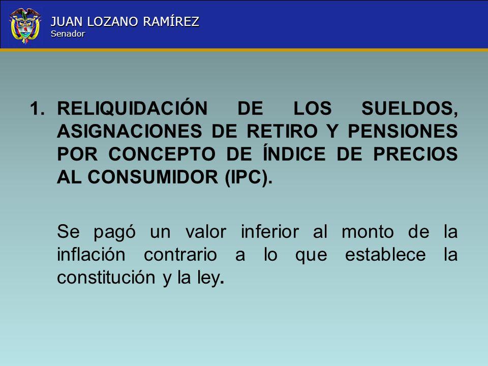 Nombre la Entidad República de Colombia JUAN LOZANO RAMÍREZ Senador En Ley 420 del 05 de Enero de 1998 extendió específicamente la bonificación por compensación al personal con asignación de retiro de las Fuerzas Militares y la Policía Nacional, en su artículo primero determina: Adicionase los artículos 158, 140, y 100 de los Decretos Leyes1211, 1212, y 1213 de 1990 respectivamente, y el artículo 49 del Decreto1091 de 1995 en el sentido de incluir como partida computable para liquidar las prestaciones sociales periódicas del personal de Oficiales, Suboficiales, miembros del nivel ejecutivo y agentes de las Fuerzas Militares y de la Policía Nacional retirados con asignación de retiro o pensión y sus beneficiarios, que tuviere tal condición el 31 de Diciembre de 1996, la bonificación por compensación que reconoce al personal de la Fuerza Pública en servicio Activo.