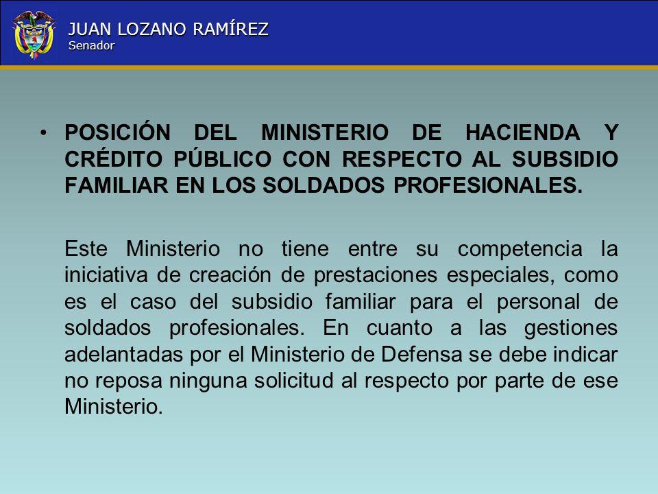 Nombre la Entidad República de Colombia JUAN LOZANO RAMÍREZ Senador POSICIÓN DEL MINISTERIO DE HACIENDA Y CRÉDITO PÚBLICO CON RESPECTO AL SUBSIDIO FAM
