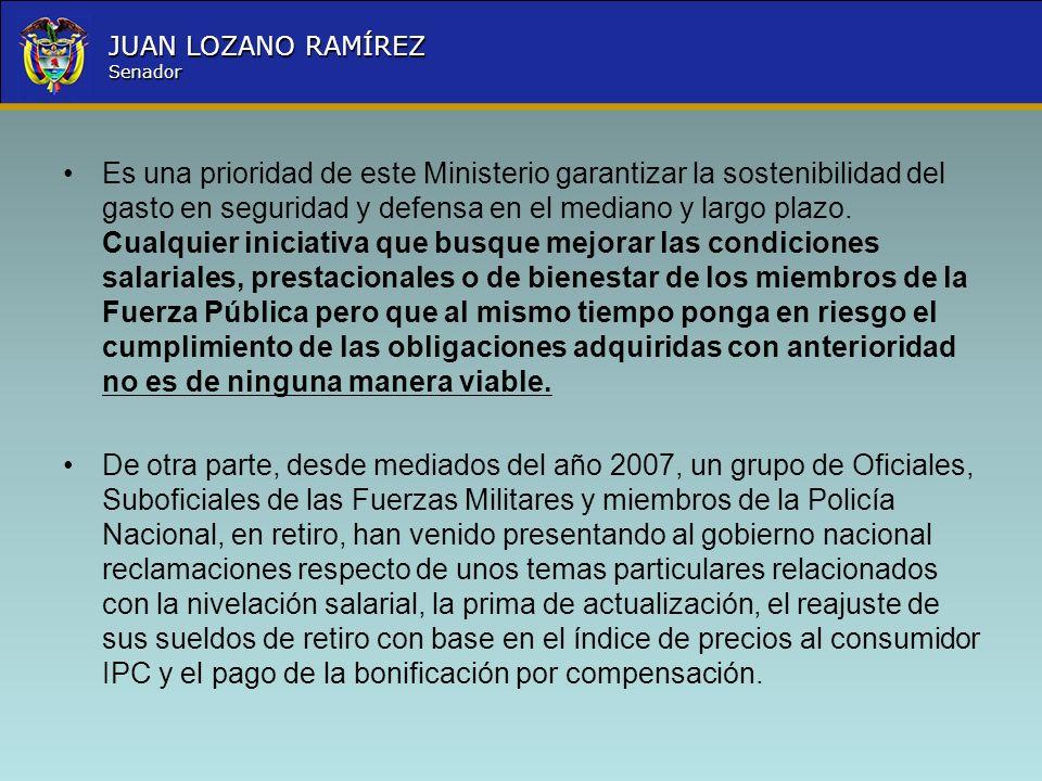 Nombre la Entidad República de Colombia JUAN LOZANO RAMÍREZ Senador Es una prioridad de este Ministerio garantizar la sostenibilidad del gasto en segu