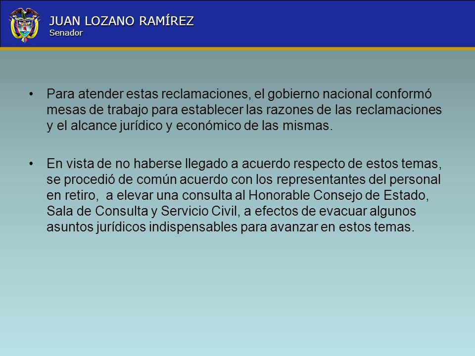 Nombre la Entidad República de Colombia JUAN LOZANO RAMÍREZ Senador Para atender estas reclamaciones, el gobierno nacional conformó mesas de trabajo p