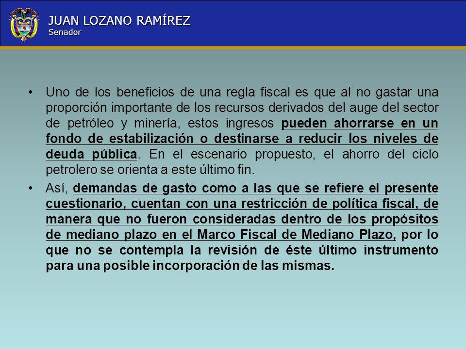 Nombre la Entidad República de Colombia JUAN LOZANO RAMÍREZ Senador Uno de los beneficios de una regla fiscal es que al no gastar una proporción impor