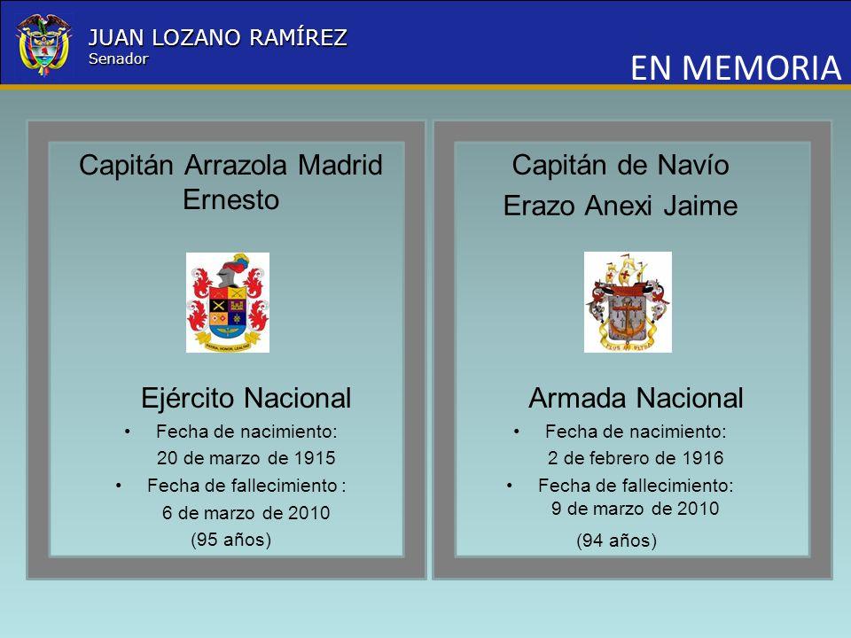 Nombre la Entidad República de Colombia JUAN LOZANO RAMÍREZ Senador EN MEMORIA Capitán Arrazola Madrid Ernesto Ejército Nacional Fecha de nacimiento: