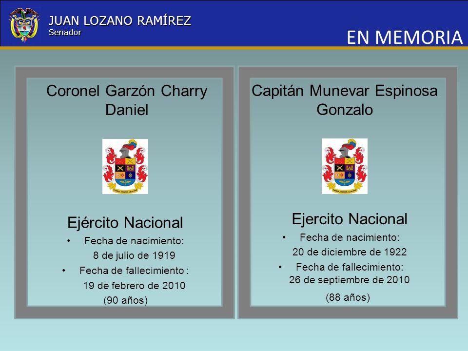 Nombre la Entidad República de Colombia JUAN LOZANO RAMÍREZ Senador EN MEMORIA Coronel Garzón Charry Daniel Ejército Nacional Fecha de nacimiento: 8 d