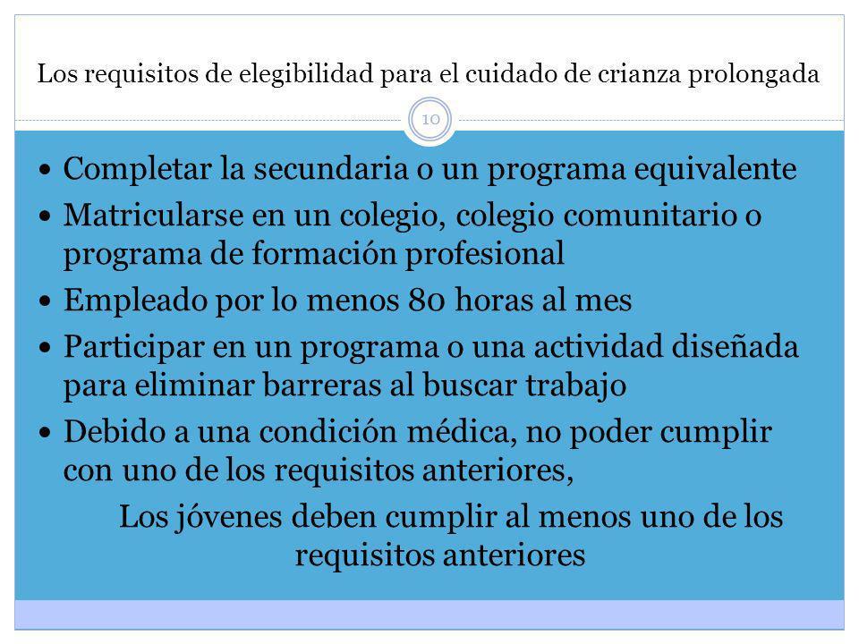 10 Los requisitos de elegibilidad para el cuidado de crianza prolongada Completar la secundaria o un programa equivalente Matricularse en un colegio,
