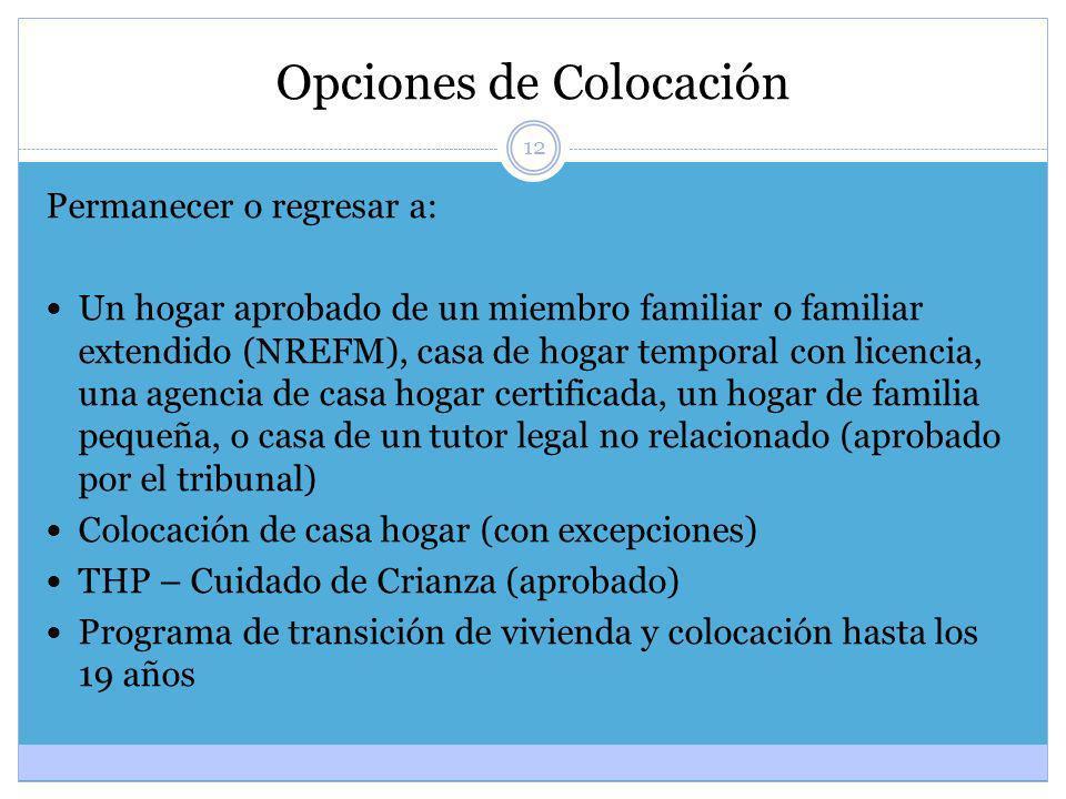 12 Opciones de Colocación Permanecer o regresar a: Un hogar aprobado de un miembro familiar o familiar extendido (NREFM), casa de hogar temporal con l