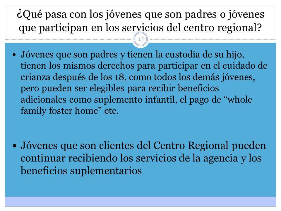 17 ¿ Qué pasa con los jóvenes que son padres o jóvenes que participan en los servicios del centro regional? Jóvenes que son padres y tienen la custodi