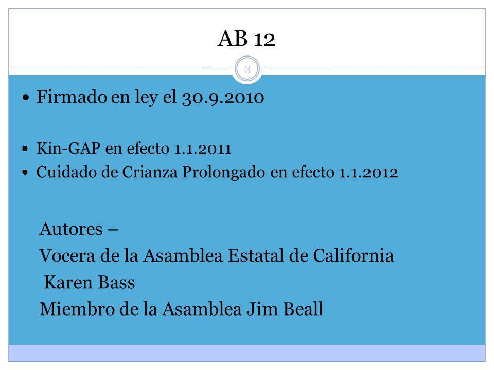 3 AB 12 Firmado en ley el 30.9.2010 Kin-GAP en efecto 1.1.2011 Cuidado de Crianza Prolongado en efecto 1.1.2012 Autores – Vocera de la Asamblea Estata