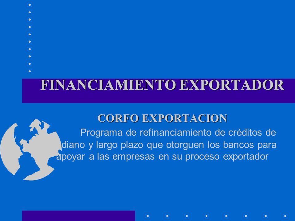 FINANCIAMIENTO EXPORTADOR CORFO EXPORTACION FINANCIAMIENTO EXPORTADOR CORFO EXPORTACION Programa de refinanciamiento de créditos de mediano y largo pl