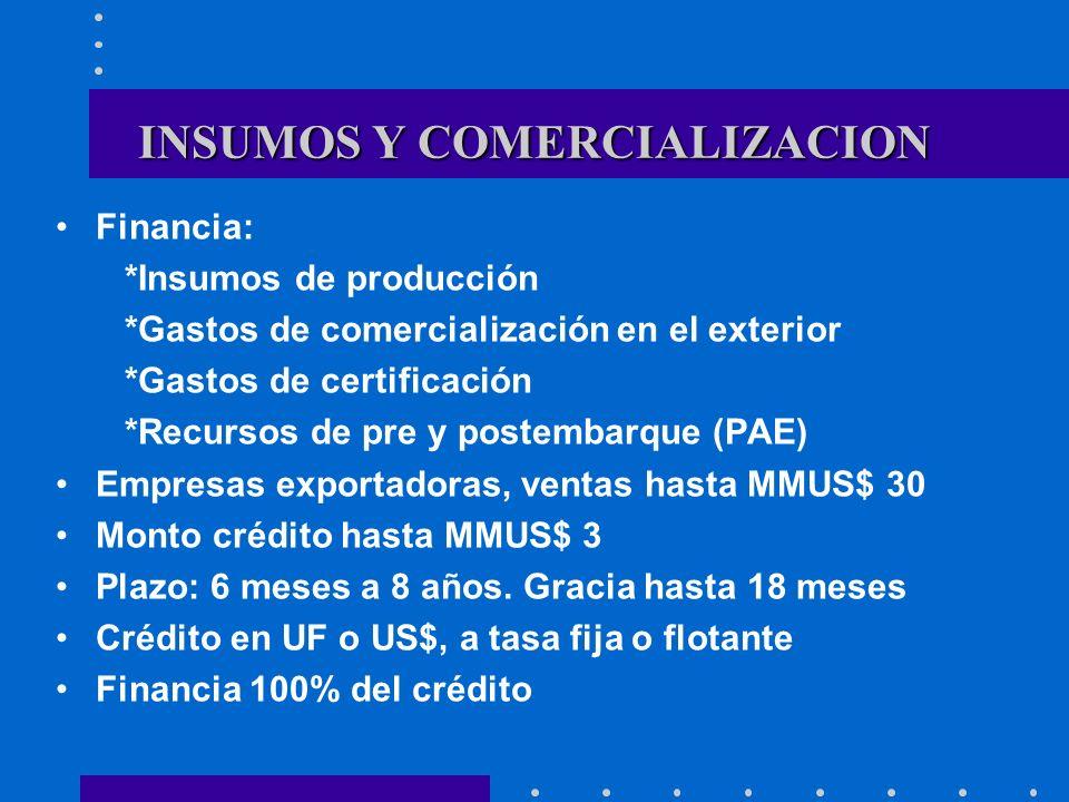 INSUMOS Y COMERCIALIZACION Financia: *Insumos de producción *Gastos de comercialización en el exterior *Gastos de certificación *Recursos de pre y pos