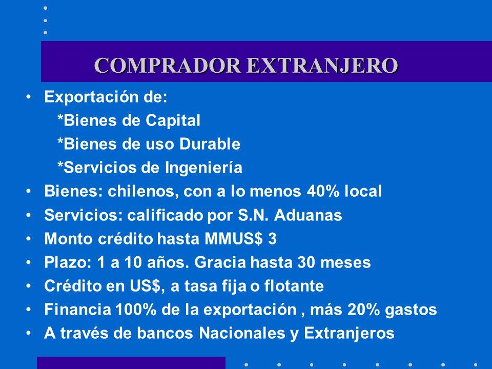 COMPRADOR EXTRANJERO Exportación de: *Bienes de Capital *Bienes de uso Durable *Servicios de Ingeniería Bienes: chilenos, con a lo menos 40% local Ser