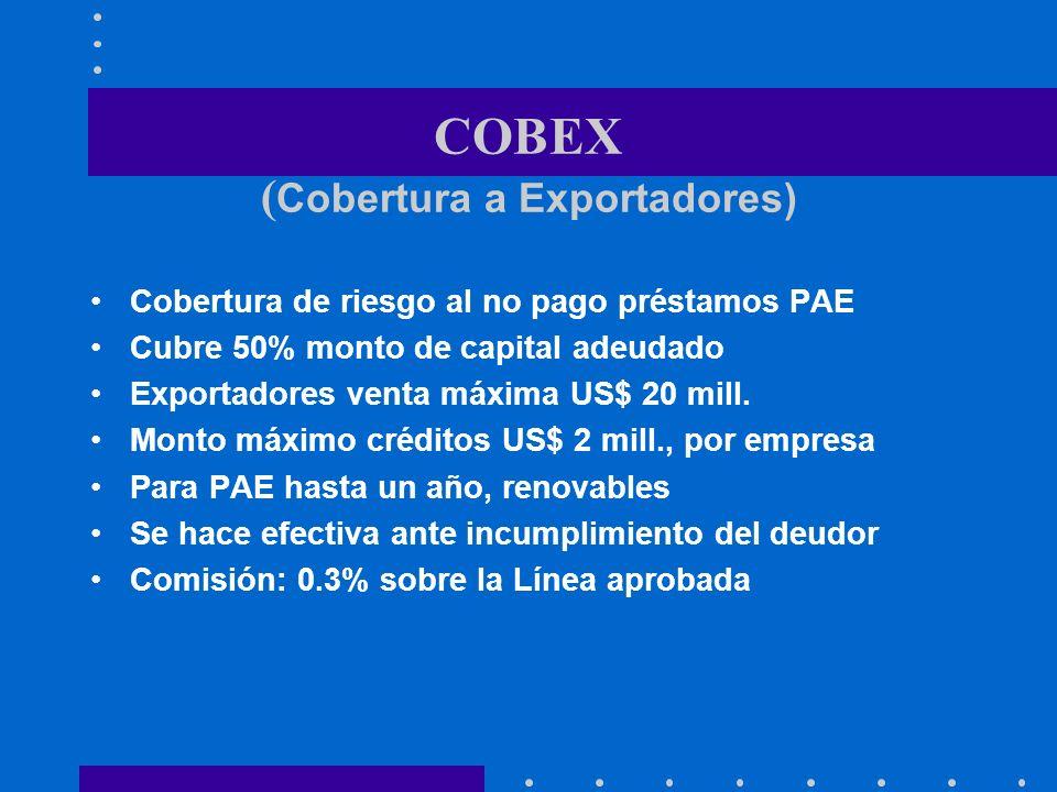 COBEX ( Cobertura a Exportadores) Cobertura de riesgo al no pago préstamos PAE Cubre 50% monto de capital adeudado Exportadores venta máxima US$ 20 mi