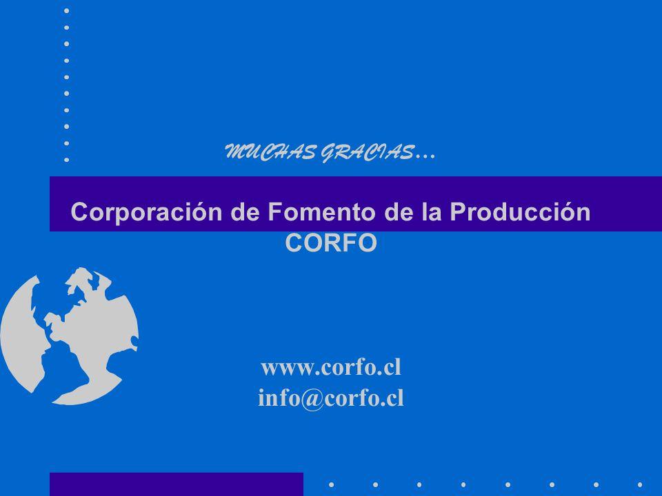 MUCHAS GRACIAS … Corporación de Fomento de la Producción CORFO www.corfo.cl info@corfo.cl