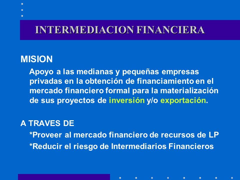 INTERMEDIACION FINANCIERA MISION Apoyo a las medianas y pequeñas empresas privadas en la obtención de financiamiento en el mercado financiero formal p