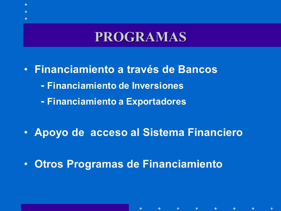 PROGRAMAS Financiamiento a través de Bancos - Financiamiento de Inversiones - Financiamiento a Exportadores Apoyo de acceso al Sistema Financiero Otro