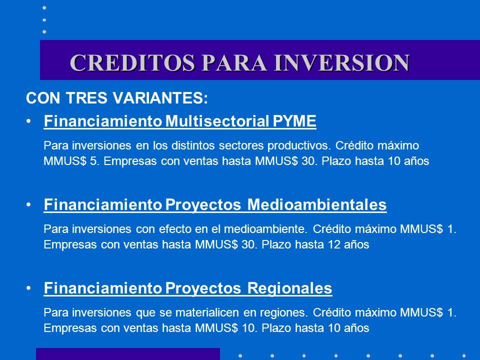 CON TRES VARIANTES: Financiamiento Multisectorial PYME Para inversiones en los distintos sectores productivos. Crédito máximo MMUS$ 5. Empresas con ve