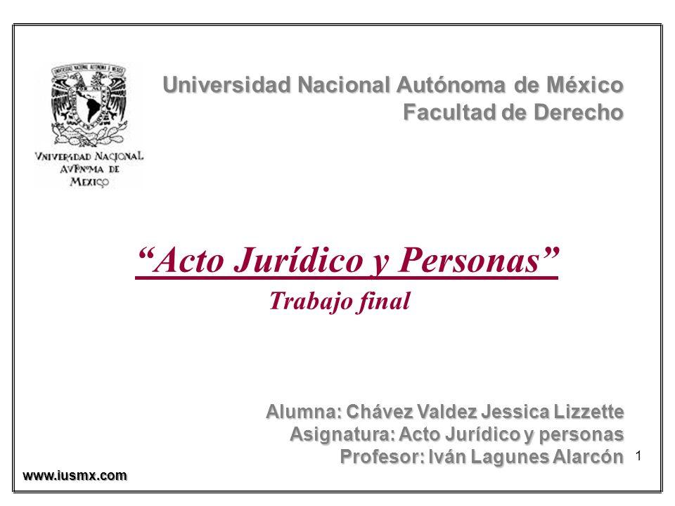 1 Universidad Nacional Autónoma de México Facultad de Derecho Facultad de Derecho Acto Jurídico y Personas Trabajo final Alumna: Chávez Valdez Jessica