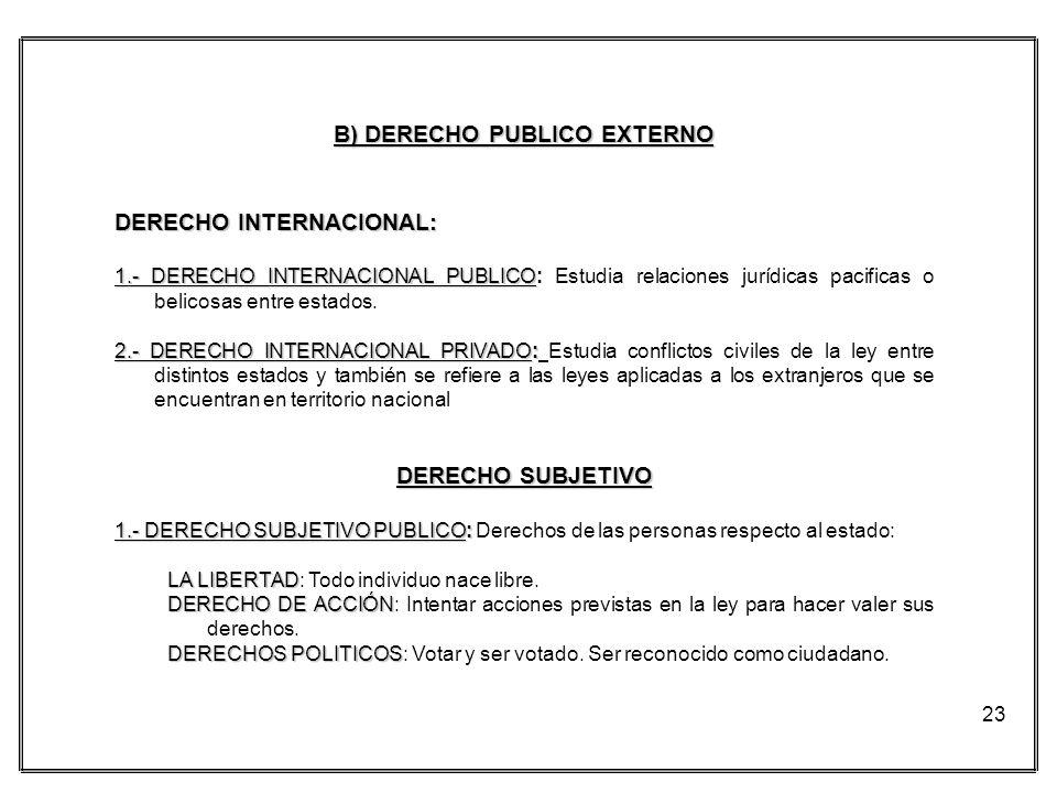 23 B) DERECHO PUBLICO EXTERNO DERECHO INTERNACIONAL: 1.- DERECHO INTERNACIONAL PUBLICO 1.- DERECHO INTERNACIONAL PUBLICO: Estudia relaciones jurídicas