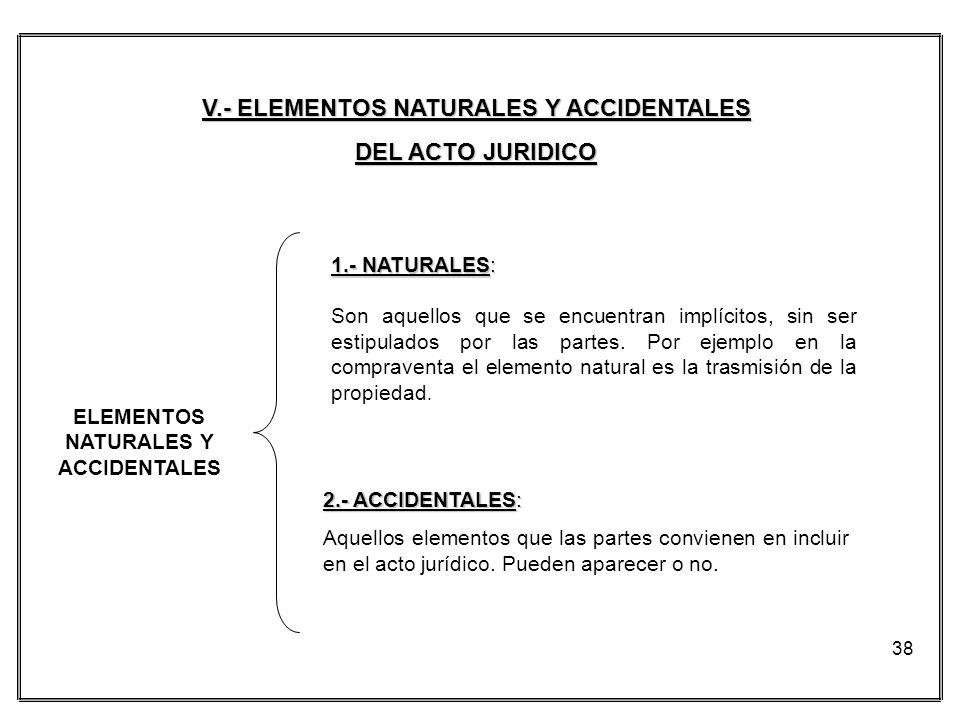 38 V.- ELEMENTOS NATURALES Y ACCIDENTALES DEL ACTO JURIDICO 1.- NATURALES: Son aquellos que se encuentran implícitos, sin ser estipulados por las part