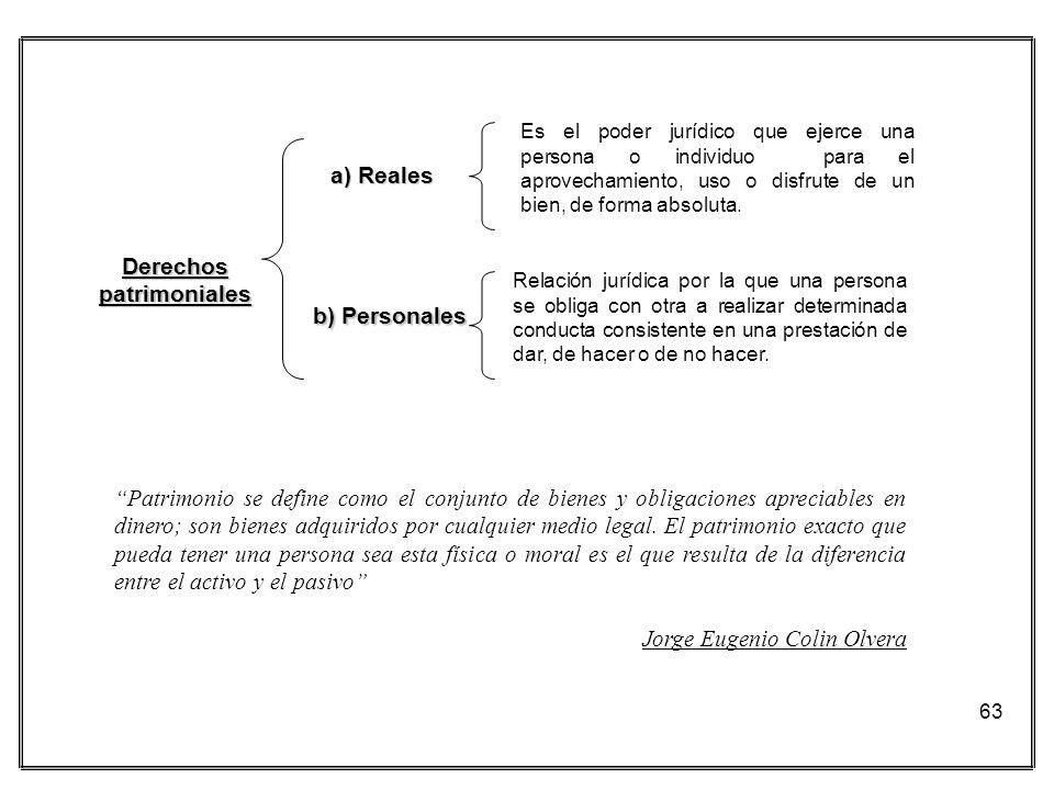 63 a) Reales b) Personales Es el poder jurídico que ejerce una persona o individuo para el aprovechamiento, uso o disfrute de un bien, de forma absolu