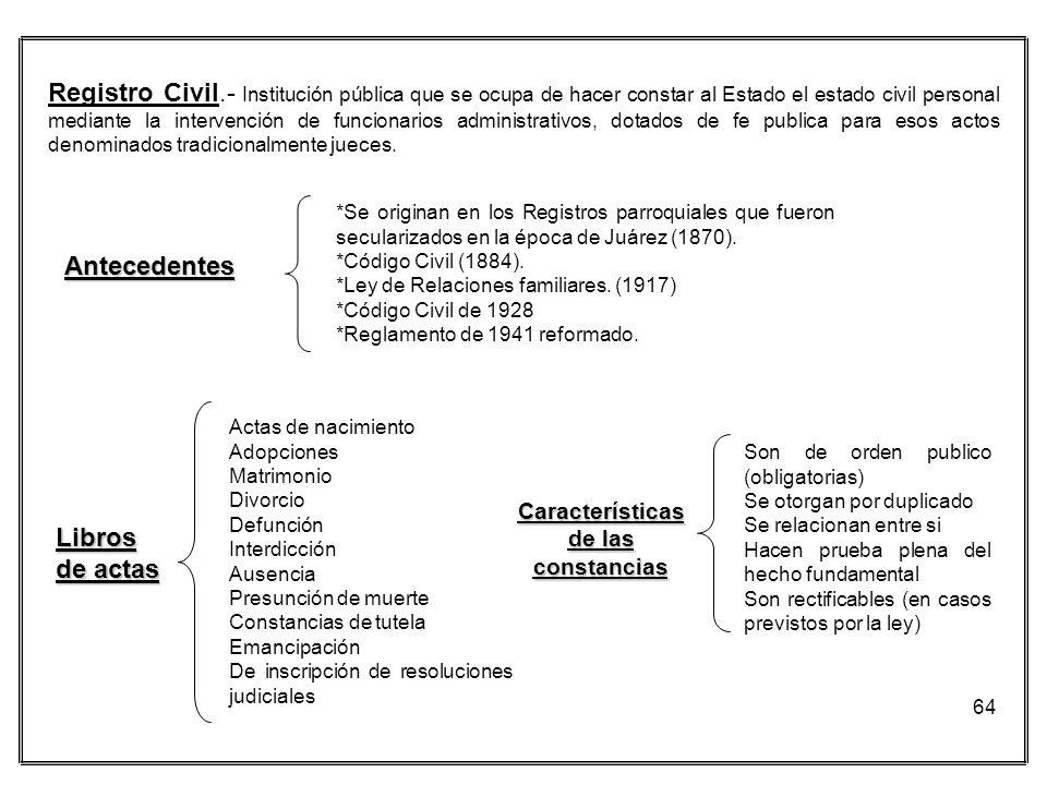 64 Registro Civil.- Institución pública que se ocupa de hacer constar al Estado el estado civil personal mediante la intervención de funcionarios admi
