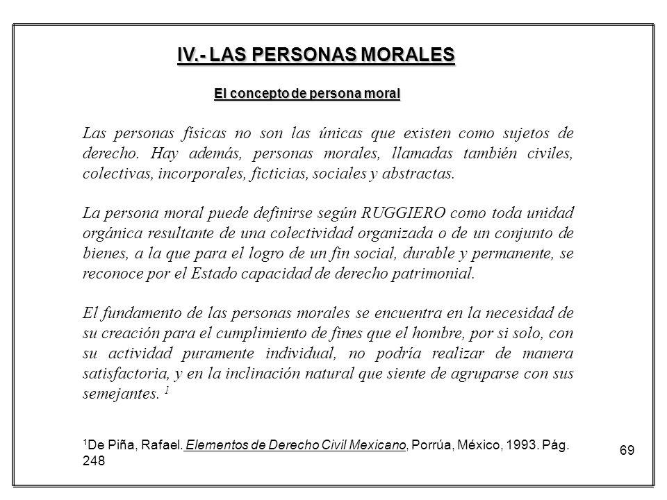 69 El concepto de persona moral Las personas físicas no son las únicas que existen como sujetos de derecho. Hay además, personas morales, llamadas tam