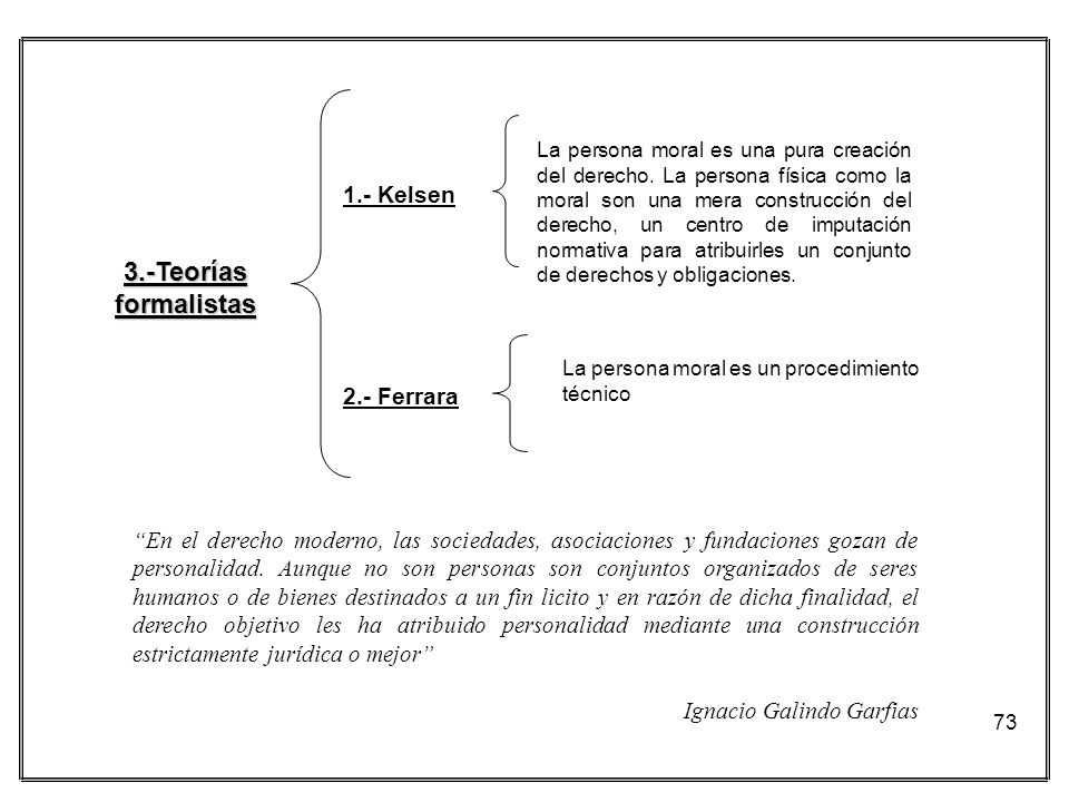 73 3.-Teorías formalistas La persona moral es una pura creación del derecho. La persona física como la moral son una mera construcción del derecho, un