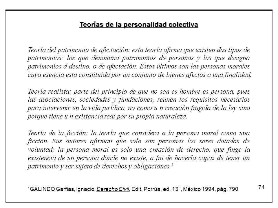 74 Teorías de la personalidad colectiva Teoría del patrimonio de afectación: esta teoría afirma que existen dos tipos de patrimonios: los que denomina