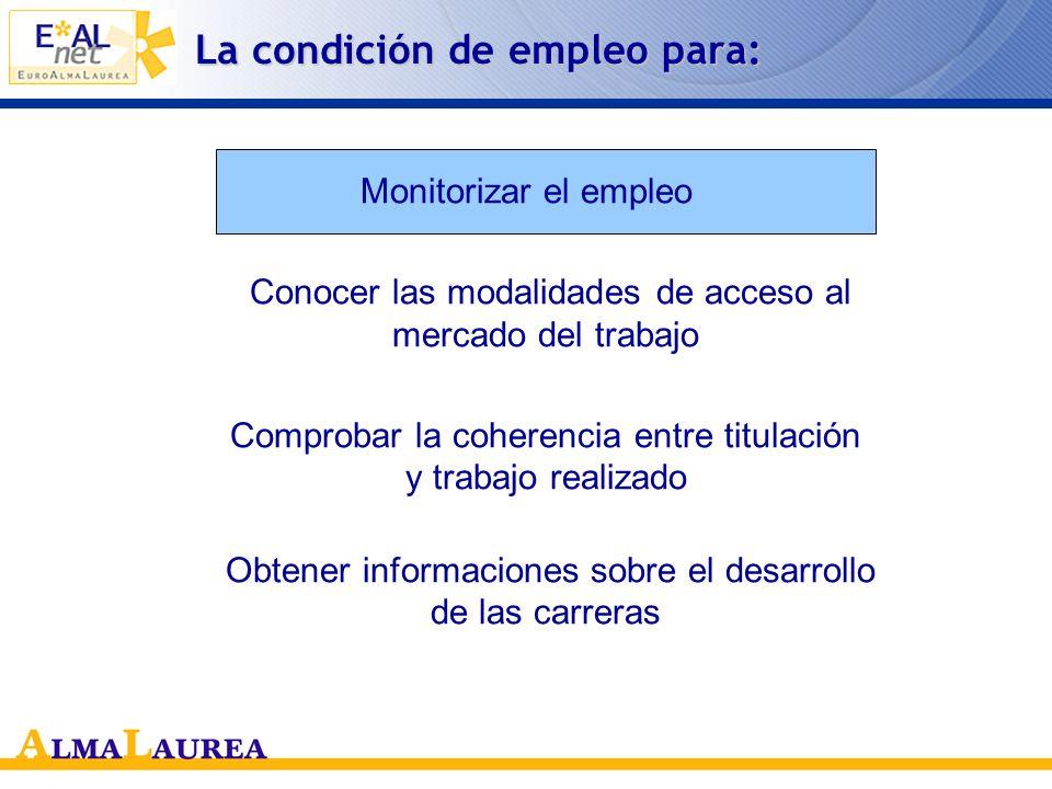Monitorizar el empleo Conocer las modalidades de acceso al mercado del trabajo Comprobar la coherencia entre titulación y trabajo realizado Obtener informaciones sobre el desarrollo de las carreras La condición de empleo para: