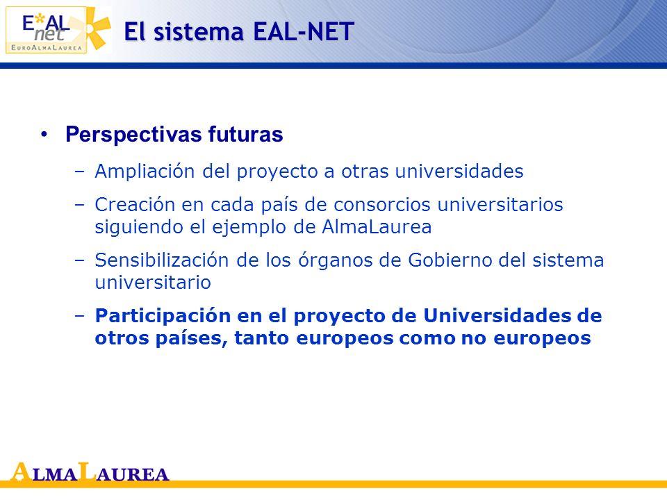 El sistema EAL-NET Objetivos alcanzados –Formato común de curriculum vitae –Portal con funciones multilenguas –Compatibilidad de las leyes en el terre