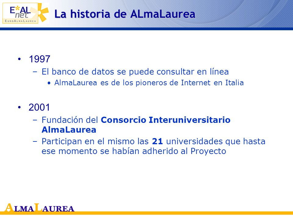 1996 –El proyecto se extiende a nivel nacional Incorporación de todas las Universidades de la región y de la Universidad de Florencia –El Ministerio de la Universidad y la Investigación Científica otorga su apoyo al Proyecto La historia de AlmaLaurea