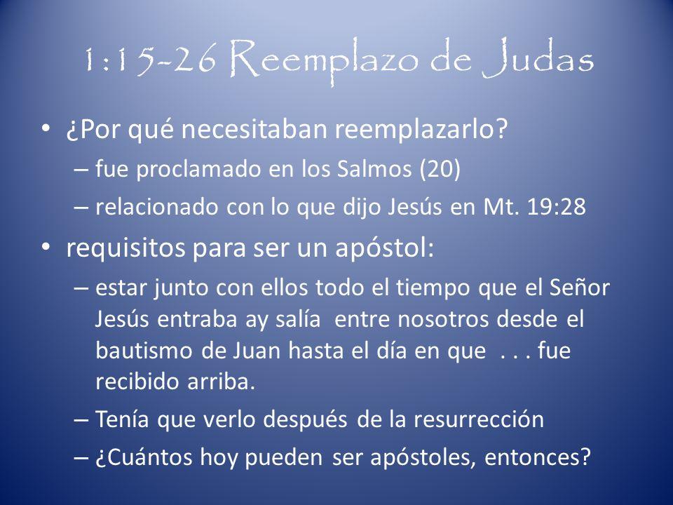 1:15-26 Reemplazo de Judas ¿Por qué necesitaban reemplazarlo? – fue proclamado en los Salmos (20) – relacionado con lo que dijo Jesús en Mt. 19:28 req