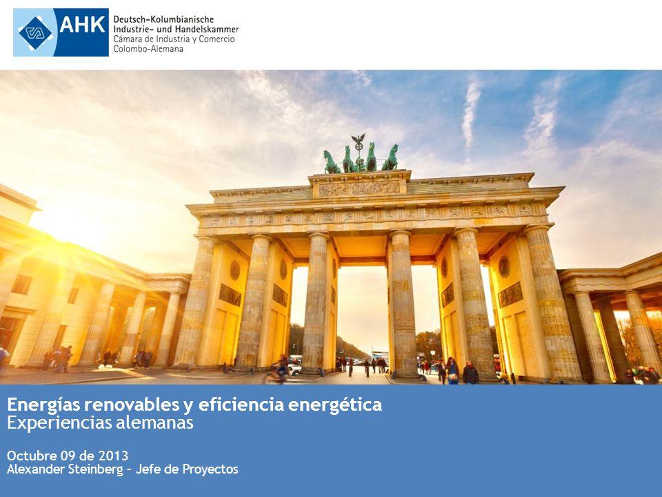 Energías renovables y eficiencia energética Experiencias alemanas Octubre 09 de 2013 Alexander Steinberg – Jefe de Proyectos