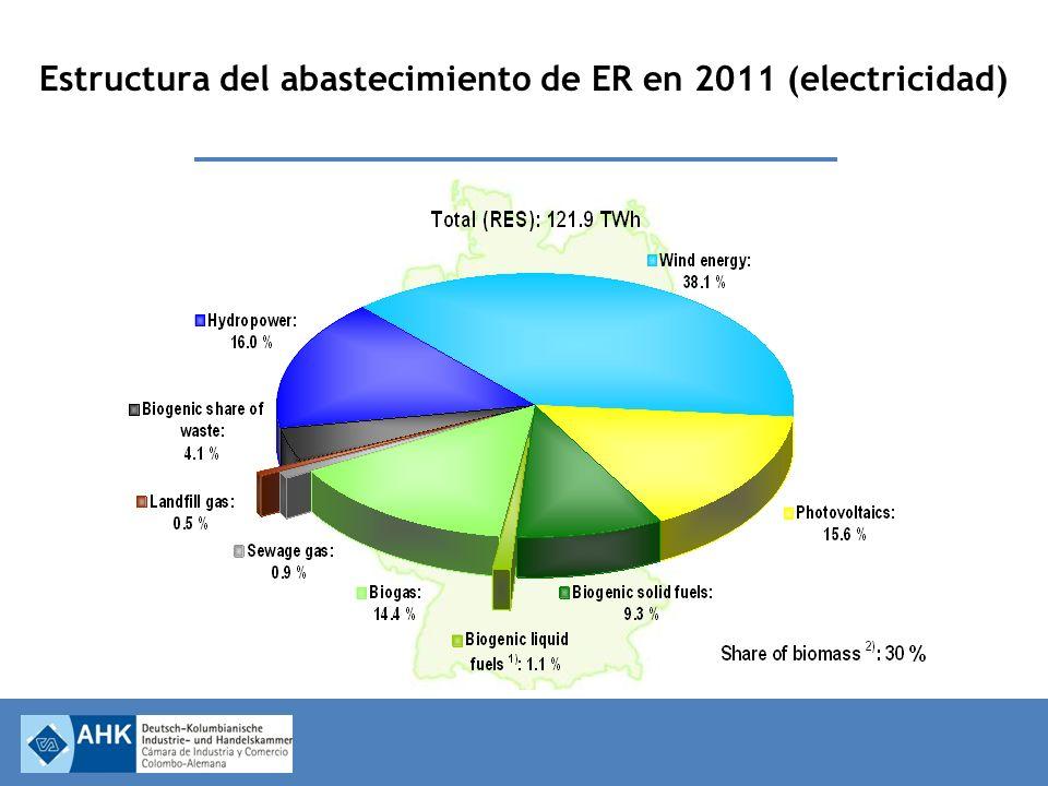 Estructura del abastecimiento de ER en 2011 (electricidad)