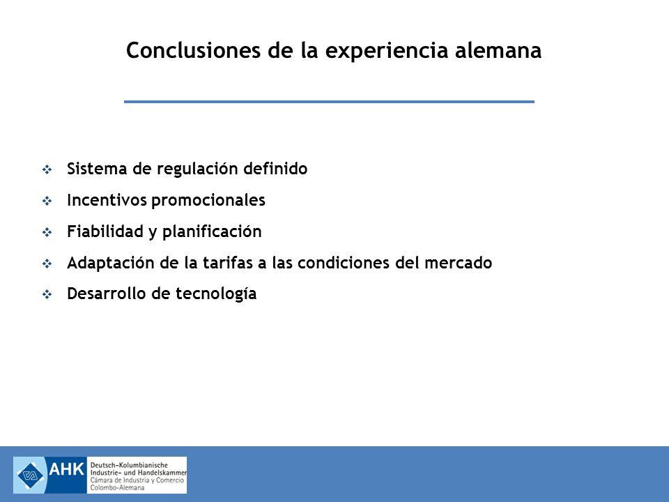 Conclusiones de la experiencia alemana Sistema de regulación definido Incentivos promocionales Fiabilidad y planificación Adaptación de la tarifas a las condiciones del mercado Desarrollo de tecnología