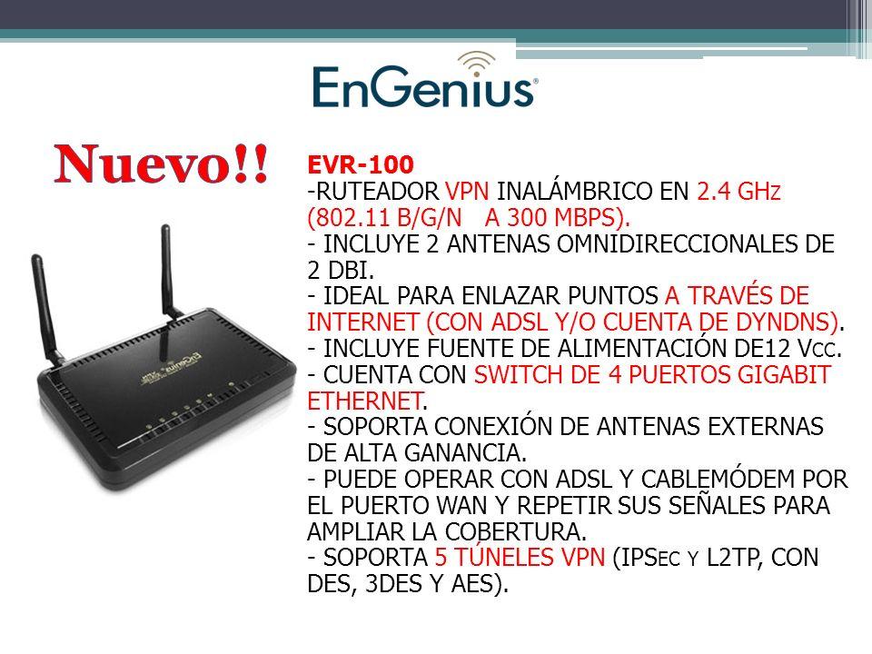 EVR-100 -RUTEADOR VPN INALÁMBRICO EN 2.4 GH Z (802.11 B/G/N A 300 MBPS).