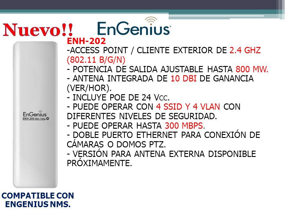 ENH-202 -ACCESS POINT / CLIENTE EXTERIOR DE 2.4 GHZ (802.11 B/G/N) - POTENCIA DE SALIDA AJUSTABLE HASTA 800 MW.