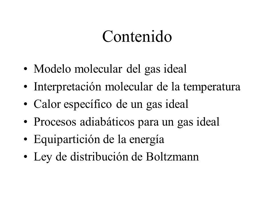 Contenido Modelo molecular del gas ideal Interpretación molecular de la temperatura Calor específico de un gas ideal Procesos adiabáticos para un gas ideal Equipartición de la energía Ley de distribución de Boltzmann